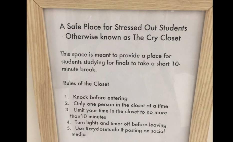 University of Utah Installs a 'Cry Closet